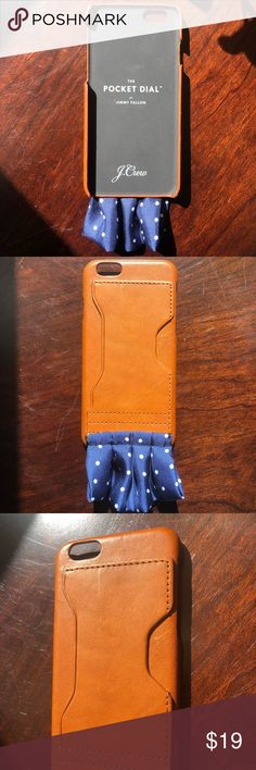 iPhone 6/6s case - The Pocket Dial by Jimmy Fallon Jimmy Fallon for J. Crew Limited Edition For iPhone 6/6s  Leather case Silk pocket square in classic navy dot (detachable) Exterior card-size slot on the case  Purchased as a gift for my husband - I don't think he ever used it. Like new condition.  No box  Comes from pet/smoke free home J. Crew Accessories Phone Cases