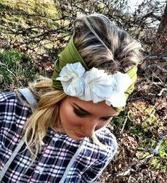 Turban Headband - Green Stretchy Jersey Knit Head band Cover with Fabric Flower Roses (HBJ-F1). $24.50, via Etsy.
