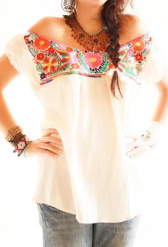 Off shoulder Mexican embroidered blouse