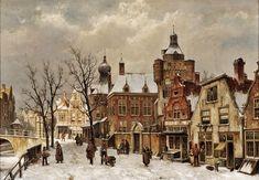 Willem Koekkoek (holland, 1839-1895) - Holländische Stadtansicht télen