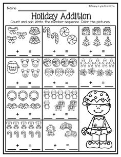 This packet is perfect for the holiday season. Plenty of math and literacy practice with a fun holiday theme. New! There are now two options for many of the worksheets: Full page or half page. This allows you to save on copies! Check out the preview file for a detailed look into the packet! Preschool Number Worksheets, Christmas Math Worksheets, Kindergarten Addition Worksheets, Kindergarten Math Activities, Math Literacy, School Worksheets, Numeracy, Math For Kids, Grammar For Kids