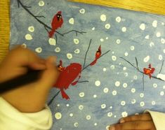 Winter Cardinals in Snow Art Lesson... A Laughing Good Tim