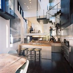 two story kitchen & stairs