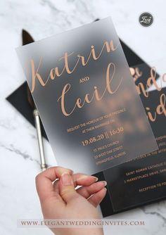 Simple Calligraphy Custom Frosted Acrylic Wedding Invitations EWIA006