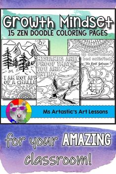 GROWTH MINDSET coloring pages for your classroom! Promote resiliency and determination among your students! Perfect for pairing with Growth Mindset lessons or to use as Growth Mindset Posters when coloring is complete. Mindful, zen, coloring sheets that a Back To School Art, Too Cool For School, Art School, School Stuff, High School, Fall Art Projects, Animal Art Projects, School Art Projects, Growth Mindset Lessons