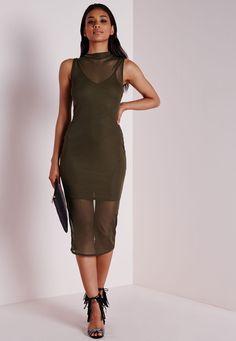 Sleeveless Mesh Bodycon Dress Khaki - Dresses - Bodycon Dresses -  Missguided Dresses Uk e5b10246c