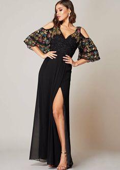5ea97429699 Virgos Lounge Black Elanna Cold Shoulder Embellished Maxi Gown Party Dress  10 38  VirgosLounge