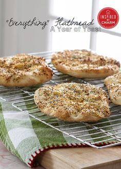 """A Year of Yeast: """"Everything"""" Flatbread. Great for a sandwich or dipping!"""