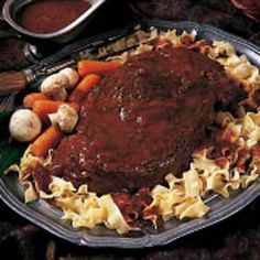 Bavarian Pot Roast Recipe recipe: Since all of my grandparents were German, it's no wonder that so many Bavarian recipes have been handed down to me. Because the Midwest has such a large German population, I feel this recipe represents the area well. Pot Roast Recipes, Meat Recipes, Cooker Recipes, Crockpot Recipes, Dinner Recipes, Bavarian Recipes, German Recipes, Bavarian Food, Recipes