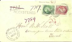 1872 Registered cover from Irocuois U.C. to Toronto 2c., 3c.