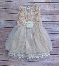 Beige or Pink Toddler Girls Dress Vintage by AvaMadisonBoutique, $45.00 - Etsy / clothing / flower / floral