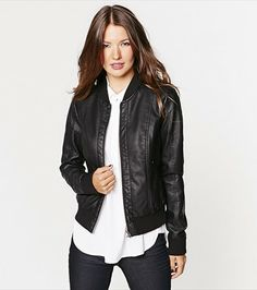 Perforated Faux Leather Bomber Jacket