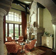 Fireplace in Multi-Million Dollar Home Designed by Fratantoni Luxury Estates mediterranean living room