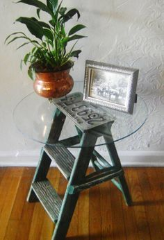 Go treasure hunting: Take a look through your garage or storage space to see if any old items can be repurposed. How about sanding and painting an old wooden ladder to use for storing blankets and scarves? Small stepladders can also be a fun way to store Repurposed Items, Repurposed Furniture, Diy Furniture, Antique Furniture, Recycled Decor, Furniture Design, Chair Design, Design Design, Painted Furniture