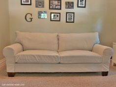 Turn an ugly-patterned couch into anything you want. How to sew a custom slip-cover