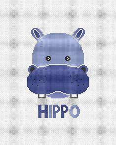 Hippo head cross stitch pattern Baby Cross stitch pattern pdf