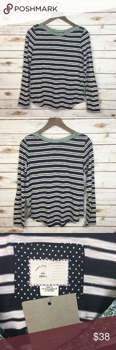 """[Anthropologie] Striped Floral Boatneck Top Boho Long sleeve pullover style shirt. Boatneck. Striped with floral and button details at neck and sides. Easy to wear on casual chic days. Postmark from Anthropologie.  Fabric: Cotton & Polyester  Bust: 18"""" Length: 24"""" Condition: NWT!  No Trades! Anthropologie Tops Tees - Long Sleeve"""