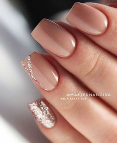 Nude Short Glitter Accent Finger nail Matte Shiny Acrylic Coffin Long Nail Ideas Manicure - French tip - Square shaped long nails - cute summer fall spring fingernails - gel nails - shellac - Nail Polish, Nail Manicure, Manicure Ideas, Manicure Colors, Shellac Manicure, Gel Manicure Nails, Mani Pedi, Elegant Nail Designs, Neutral Nail Designs