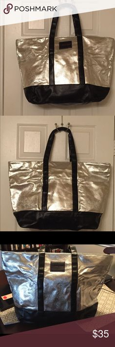 Victoria's Secret Silver Weekend Tote Victorias Secret 2017 Limited Edition XL Weekender Tote Bag. Silver canvas weekender tote. Stylish and can be used for everything. Victoria's Secret Bags Totes