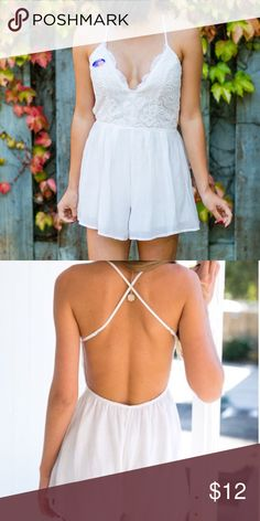 """White Lace Romper Super cute backless deep v white Lace Romper - wearing an """"I voted"""" sticker in the photo - only worn once - great condition. Not sure what the brand is For Love and Lemons Dresses Backless"""