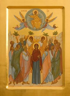 This icon of the Ascension of our Lord and Savior Jesus Christ is painted on a gessoed wooden board using egg tempera paints. It is decorated with gold-plating of the halos, the background, the margins, and other elements. Ascension Of Jesus, Hand Carved, Hand Painted, Linseed Oil, Religious Icons, Lord And Savior, Tempera, Semi Precious Gemstones, Jesus Christ