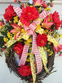 Coral and Yellow Round Summer or Spring Grapevine Wreath by WilliamsFloral on Etsy https://www.etsy.com/listing/286313357/coral-and-yellow-round-summer-or-spring