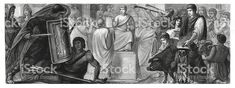 Life in ancient Rome (antique wood engraving) royalty-free life in ancient rome stock vector art & more images of rome - italy