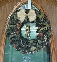 Camouflage burlap wreath/ hunting /bullets/ camo / man cave / cabin