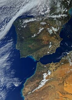 Featuring Spain and North Africa, this is one of the first images from the satellite. The image was taken by the satellite's Ocean and Land Colour Instrument on 1 March 2016 and clearly shows the Strait of Gibraltar between the Atlantic and Mediterranean Dry Desert, Iberian Peninsula, Scenery Pictures, Earth From Space, Travel Images, North Africa, Mother Earth, The Great Outdoors, Santorini