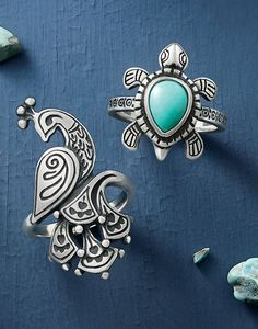 Festive Peacock Ring and Turquoise Turtle Ring #JamesAvery
