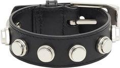 Saint Laurent Studded Leather Bracelet-Colorless