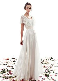 Buy discount Graceful Chiffon V-neck Neckline A-line Wedding Dress at Dressilyme.com