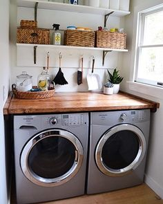 Laundry goals! who would like to see a laundry and cleaning space like this in a property? ♀️ I like the high efficiency washer/dryer and the wooden counter top! #localrealtors - posted by Taryn Bennett https://www.instagram.com/tarynsdrealestate - See more Real Estate photos from Local Realtors at https://LocalRealtors.com