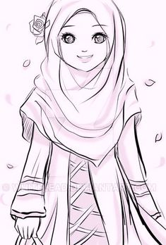 "assalamualaikum w. ""i am muslimah, you are also a muslimah, be proud with Islam!"" i am selling this peace for only: USD 6 (non color) USD 14 . I am muslimah Cartoon Sketches, Drawing Sketches, Hijab Drawing, Islamic Cartoon, Hijab Cartoon, Islamic Girl, Coloring Pages For Girls, Girls Anime, Girl Sketch"