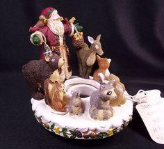 "Deb Strain Christmas candle capper Santa & woodland animals 4"" tall  | eBay"
