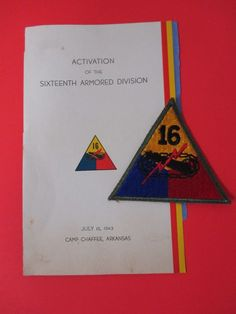 Vintage US Army Authentic WWII 16th Armored Division Insignia Patch