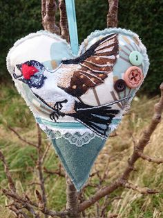 SALE Handmade Swallow embroidered appliqué by LilCritterDesigns