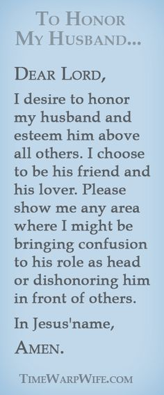 Marriage prayer - to honour my husband.