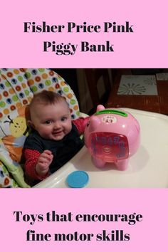 Fisher Price Pink Piggy Bank is one of the best toys for a 6 month old I bought my daughter Amelia, the Fisher Price pink piggy bank for Christmas! I would definately say it is one of the best toys for a 6 month old and I am not just saying that because I picked …