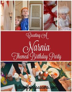 A Narnia Themed birthday party! Including ideas for invitations, a wardrobe, lamppost, Aslan's How, painting activity, food, and The White Witch! ~ futureflyinbgsaucers.com