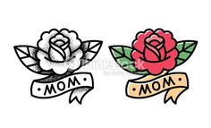 Traditional Rose Tattoo Vector Art | Thinkstock