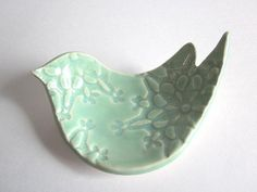 Mint green Bird Ring dish, ring bowl, spoon rest, candle holder, soap dish, Wedding ring holder, Ceramic pottery