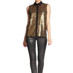 """▪️SALE▪️Rebecca Minkoff Gold Odin Sequin Silk Top Rebecca Minkoff Gold Odin Sequin Silk Top featuring matte gold sequins and black trim.  Great under a blazer!  NWT, never worn!  Stock photos used to show fit.  SALE! $80 marked down to $70!▪️  Measurements laying flat: Armpit to armpit: 18"""" Waist (across): 19.5"""" Top of shoulder to bottom hem: 25"""" Rebecca Minkoff Tops"""