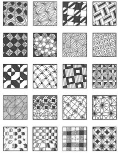 Zentangle Grid 1 by Emily Perkins Zentangle Drawings, Doodles Zentangles, Zentangle Patterns, Doodle Drawings, Doodle Art, Zen Doodle Patterns, Doodle Borders, Tangle Doodle, Tangle Art