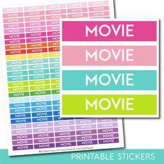 Movie stickers, Movie planner stickers, Movie printable stickers, Film stickers, Cinema sticker, TV stickers, TV Show stickers, STI-235
