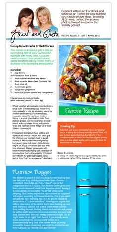 April Recipe Newsletter Gout Recipes, Keto Recipes, Cookbook Recipes, Whole Food Recipes, April Recipe, Grilled Chicken, Sriracha Chicken, Seasoning Mixes, Kitchens