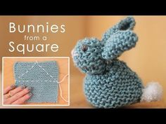 DIY Knit Bunny From A Square Free Pattern