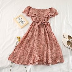 More Dresses Information about 2019 New Fashion Women's Dresses Fresh Ruffled Waist Slimming Straps Bow Chiffon Floral Dress,High Quality Dresses from Store on Cute Casual Outfits, Pretty Outfits, Pretty Dresses, Beautiful Dresses, Casual Dresses, Summer Dresses, Women's Dresses, Dresses For Women, Dress Outfits