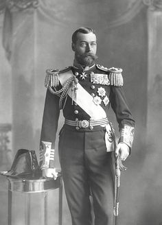 "King George V (George Frederick Ernest Albert) (3 Jun 1865-20 Jan 1936) UK by James Stack Lauder in 1897 while Duke of York on a Royal visit to Ireland in uniform of a British Naval Captain.. 2nd Child of King Edward VII (Albert Edward) (1841-1910) UK & wife Princess Alexandra (1844-1925) Denmark. Husband 1893 of Princess Mary ""May"" (26 May 1867-24 Mar 1953) Teck, Germany."
