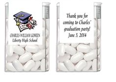 Personalized Graduation Tic Tac Label / Wrapper Party Favor - Graduation Cap and Diploma Certificate. A fun party favor for a high school or college graduation party.